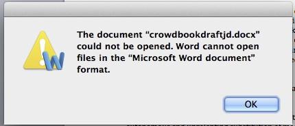 MS Word error message