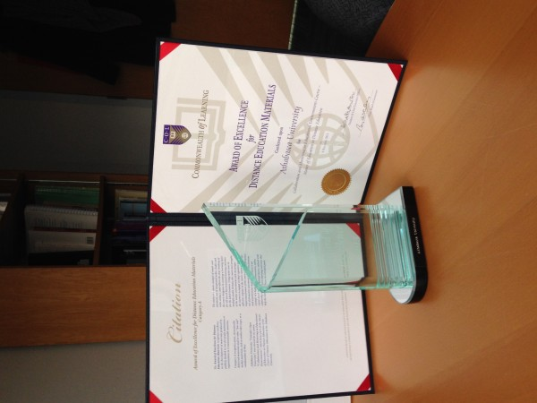 Commonwealth of Learning Award for Excellence in Design of Distance Education Materials