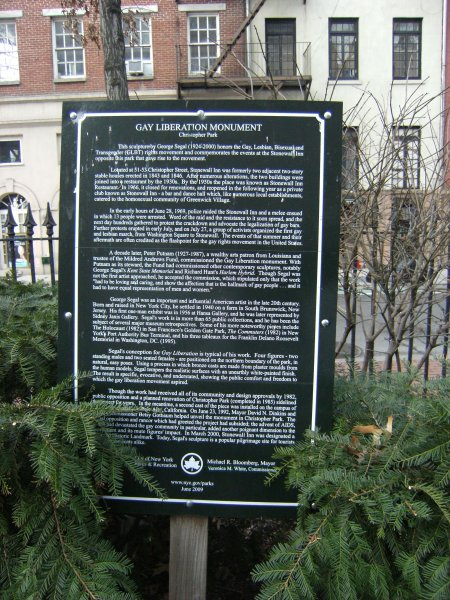 Plaque at the Stonewall monument