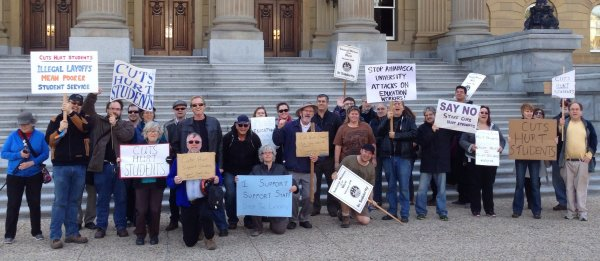 Protest in front of Alberta Legislature re cuts to funding and services, Oct 15 2013
