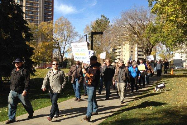 AU faculty and staff march on Alberta legislature grounds, Edmonton