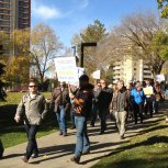 AU faculty and staff march on Alberta legislature grounds, Edmonton