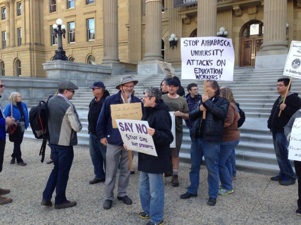 AU faculty and staff outside Alberta legislature, Edmonton