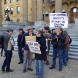 AU faculty and staff outside Alberta legislature, Edmonton