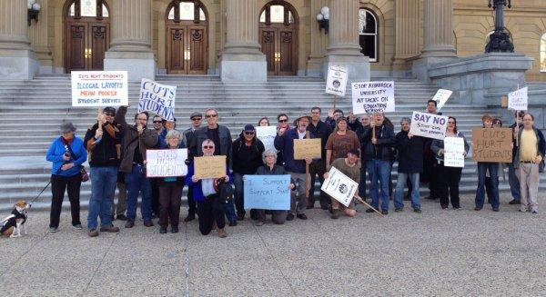 AU faculty and staff protest at the Alberta legislature, Edmonton