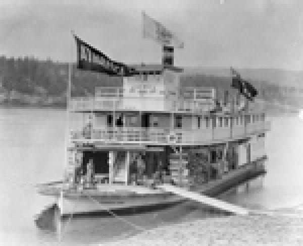 Steamer arriving at Athabasca Landing